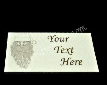 Santa Clause - White Cotton Custom Printed Labels / Sew in Clothing labels / Personalized Fabric Labels - For Crochet, Knit, Sewing
