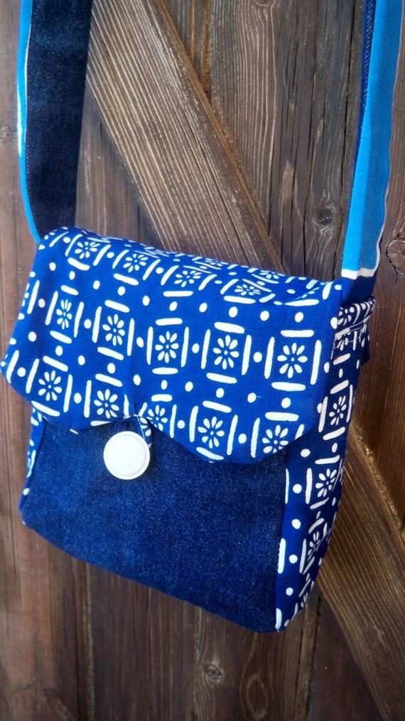 Gypsy Blue Denim Bag  French Handmade  Batik lined Front Flap Button Closure #sophieladydeparis