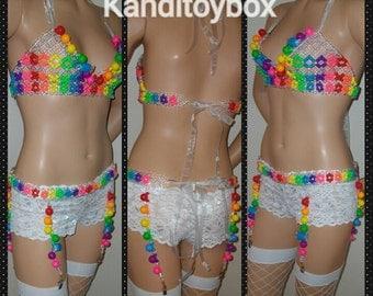 Gumball and candy pieces bra with garter belt edc bra, rave gear,kandi bikini