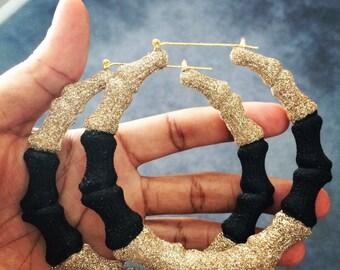 Gold & Black Bamboo Hoop Earrings