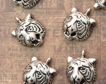 10 Tiger Charms Tiger Pendants Antiqued Silver  13 x 13mm