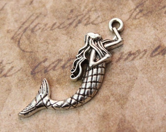 10 Mermaid Charms Mermaid Pendants Antiqued Silver 10 x 33 mm
