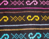 Unique 2.88 yards x .87 yard Black Mexican Fabric (cambaya) with neon mexican embroidery patterns