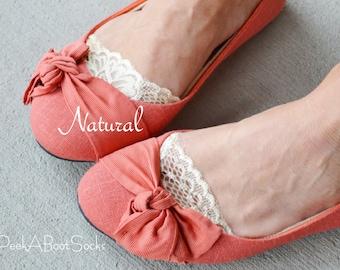 Flirty Lace Socks- Natural