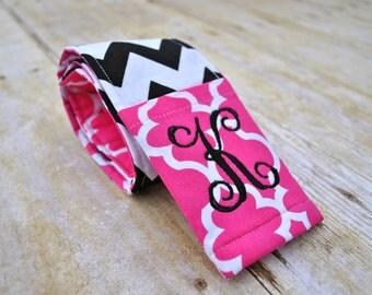 Monogrammed camera strap cover (pink quatrefoil/black chevron