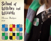 Harry Potter inspired School of witches and wizards house badges
