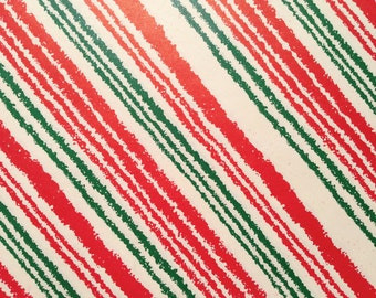 Vintage Christmas Gift Wrapping Paper - Rustic Squiggle Red, White and Green Candy Cane Striped Paper - 1 Unused Full Sheet Gift Wrap