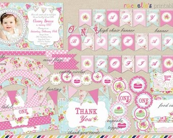 Shabby Chic Party - Shabby Invite - Shabby Cupcake Toppers - Shabby Chic Bottle Labels