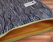 Zipper Pouch Wood Grain Large Makeup Bag