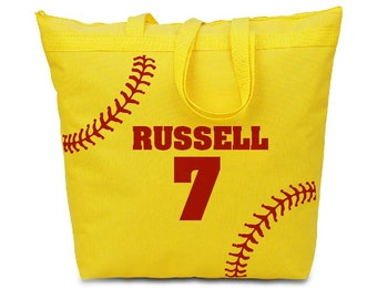 Custom Red Softball Stitching on a Yellow Canvas Tote Bag - Cute summer bag