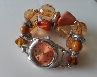Double Stranded Orange & Bronze Beaded Watch Band Set (58)
