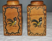 Woodpecker Woodware Salt and Pepper Shakers 1950s from Amelie's Farmhouse