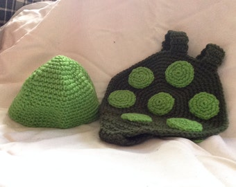 Crocheted Turtle Hat and Diaper Cover Photo Prop