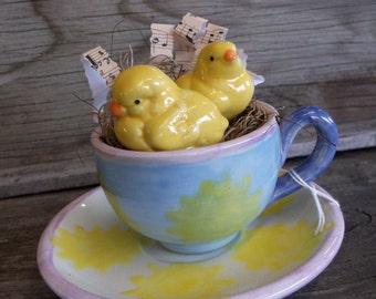 Easter Decor, Teacup and Saucer, Chicks In A Teacup, Sheet Music, Home Decor, Chicken Kitchen Decor, Everynowandthen1