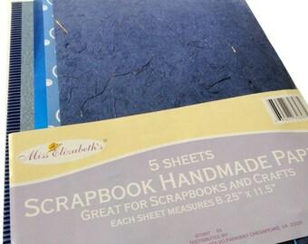 """Blue Scrapbooking Handmade Paper, 5 Sheets, 8.5"""" x 11"""""""
