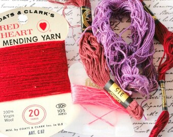 Vintage Sewing Notions, Embroidery Floss, Yarn, Purple, Red, Craft Supply Destash