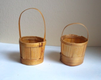 Two Matching Miniature Handmade Baskets  with Handles - Doll House - Greenhouse - Fairy Garden - Doll Accessory