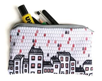 illustrated pencil case - city in the rain