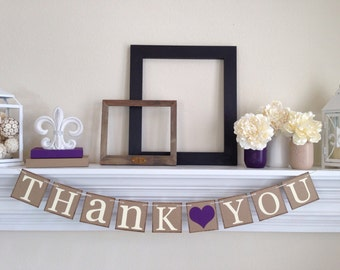 Thank You Sign, Rustic Wedding, Wedding Signs, Thank You Bananer, Wedding Decorations, Wedding Photo Prop, Plum Purple