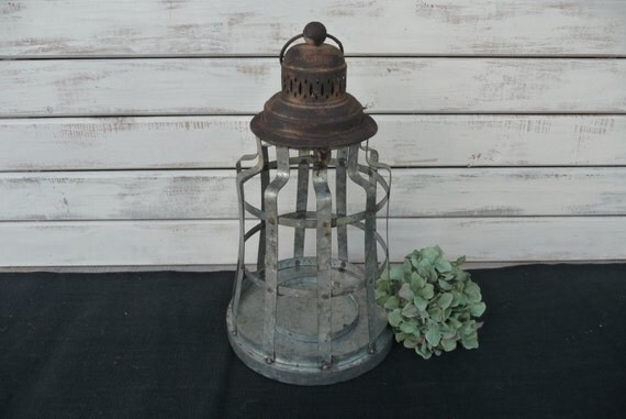 Large metal rustic lantern beach railroad by rusticboardwalk
