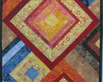 Art Quilt Colorful Diamonds, Quilted Wall Hanging