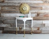 Gold Dipped White Queen Anne Demilune Side Table Accent Entry Hall Table