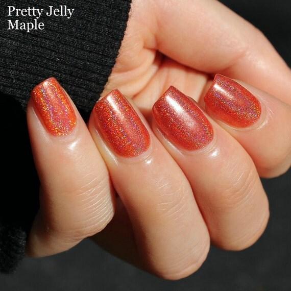 Holographic Nail Polish Holo Nails Indie Nail Polish Orange