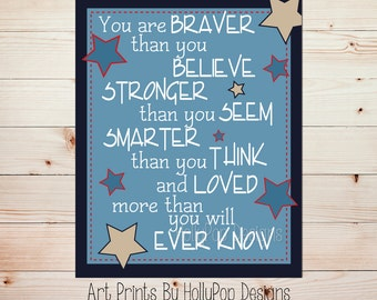 You are Braver than you Believe Inspirational Quotes for Children Navy Blue Red Nursery Decor Boy Nursery Art Prints Nursery Wall Art #633