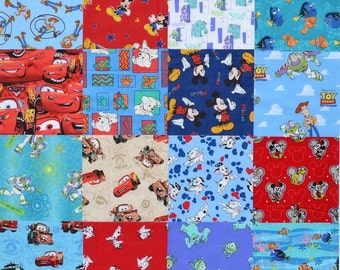 """16 8.5"""" DISNEY Mickey Mouse Cars Monsters Inc. Nemo cotton Quilt quilting Fabric Squares Blocks"""