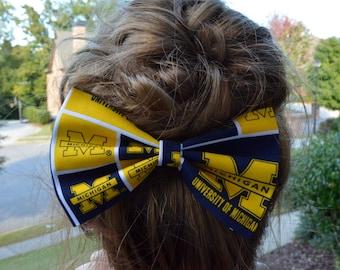 University of Michigan-hair bow, Hair Bow, Sports hair bows, hair bows for girls