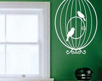 Birdcage with birds Wall Mural Decal Sticker Vinyl Version 1