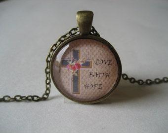 Inspirational Love, Faith, Hope Glass Dome Pendant Necklace