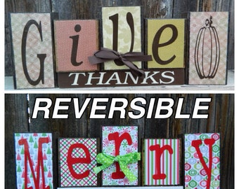 SALE Reversible Christmas and Thanksgiving blocks- (BRIGHT) Give Thanks reverses with Merry Christmas