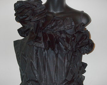 HALF PRICE SALE Vintage Black Ruffle Dress One Shoulder Was 10.00 Now 5.00