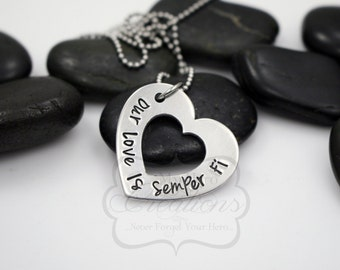 "Hand-Stamped Military Support ""Our Love Is Semper Fi"" Necklace"