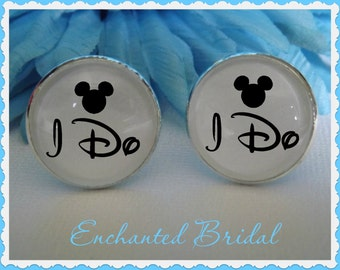 Disney Inspired I Do Mickey Mouse Cufflinks Wedding Accessory Mouse Ears Bridal for Him