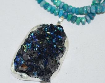 Fancy Blue- Black Mountain Druzy 92.5 Sterling Silver Pendant
