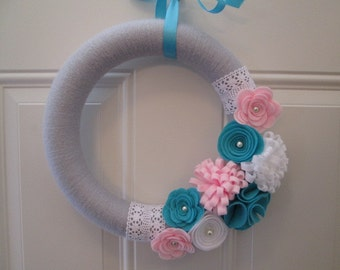 Modern Spring Wreath, Pink, Turquoise, Grey Yarn Wreath,  Door Wreaths, Front Door Wreath