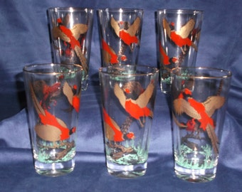 Lot of 6 Vintage Mid-Century Pheasant Gold Trim Clear Glass Tumblers