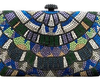 Swarovski ELEMENTS Aztec Tribal pattern Minaudiere Multi Blue Orange Crystal Party Metal case box clutch purse bag