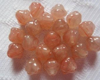 20  Dark Peach Red Variegated Opal Swirl Saturn Lantern Czech Glass Beads  10mm