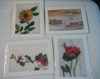 Chinese Brush Painting Style Prints - Set of 4 Notecards -