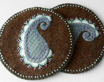 Handmade Felted Wool Tweed Paisley Mug Mats
