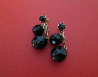 Vintage Black Bead Dangle Earrings Screw Back