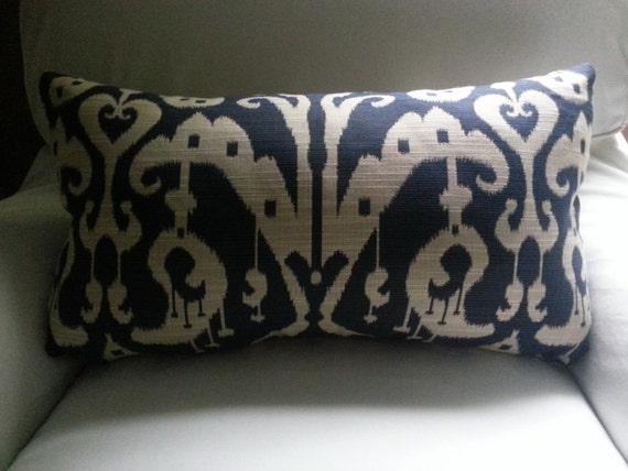 Items similar to Designer Ikat Navy Blue and Light Beige 14x24 Decorative Toss Throw Pillow ...