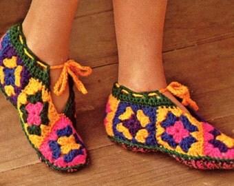 Granny Squares Slippers - Crochet Pattern