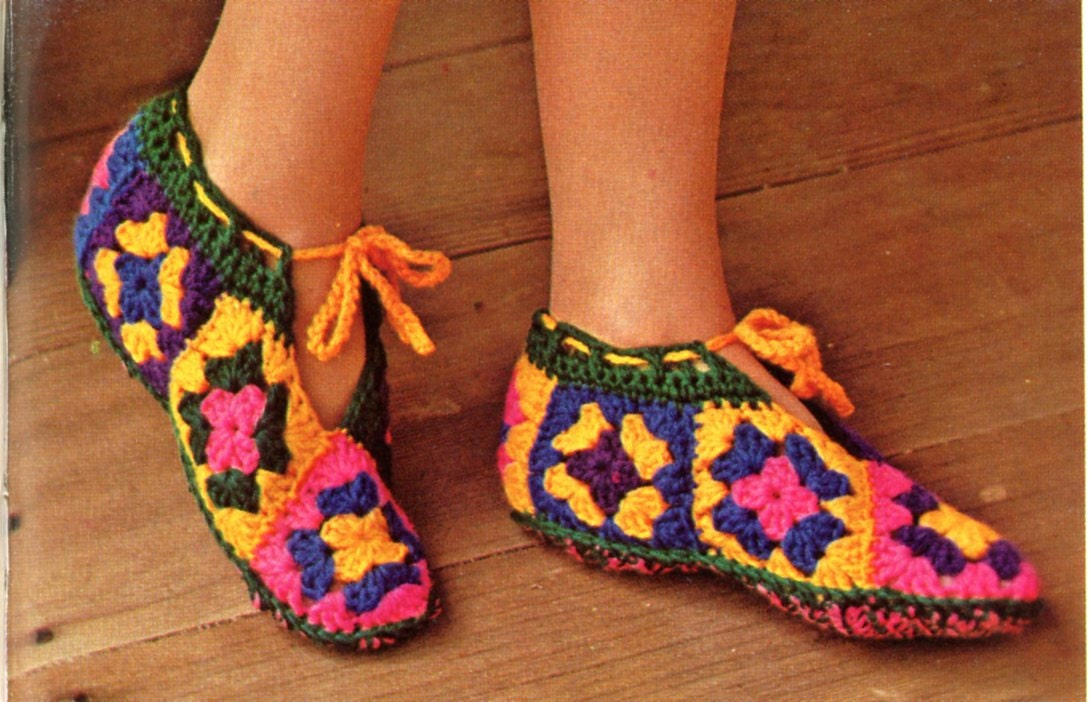 Crochet Granny Square Slipper Pattern : Granny Squares Slippers Crochet Pattern