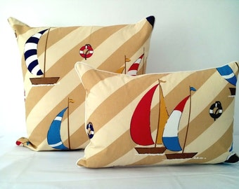 "Nautical Throw Pillow Lumpar  22"" by 15"", Boats on White and Beige, Red and Blue Nautical Cushions"