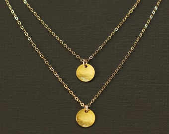 Layered Necklace - Double Gold Disc Necklace - 14K Gold Filled