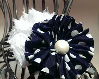 Navy blue hair clip, flower hair clip, navy and white polka dot hair clip girls hair clips hair flower flower hair accessory